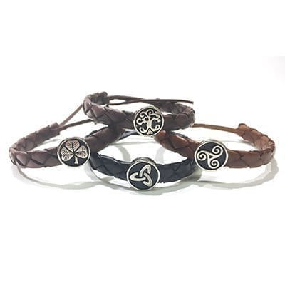 Celtic Leather Bracelets - muted, flat